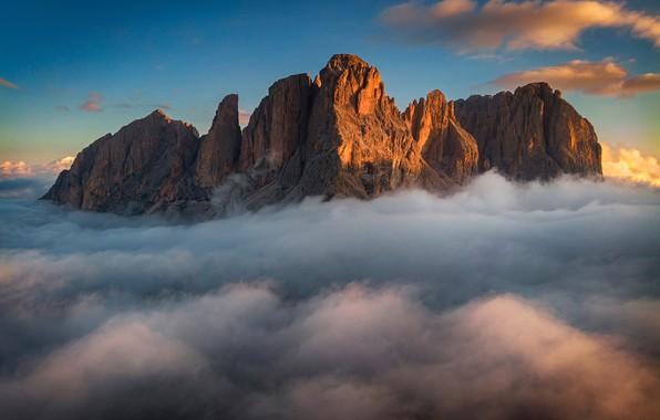 Картинка небо, облака, горы, sky, mountains, clouds, Dolomites, Доломиты