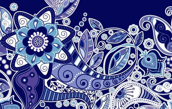 Картинка цветы, текстура, орнамент, синий фон