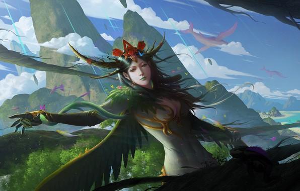 Картинка взгляд, девушка, скалы, рука, крылья, перья, фэнтези, арт, жест