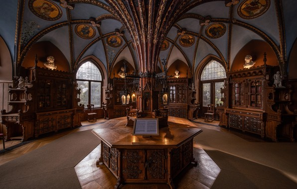 Картинка Германия, библиотека, Germany, Marienburg Castle, Замок Мариенбург