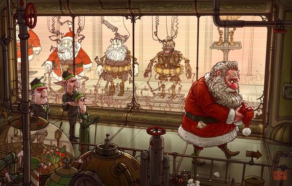 Картинка Роботы, Эльфы, Fantasy, Эльф, Санта Клаус, Art, Robots, Фантастика, Machine, New Year, Santa Claus, Завод, …