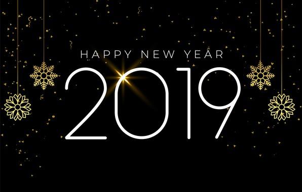 Картинка снежинки, золото, Новый Год, цифры, golden, черный фон, black, background, New Year, snowflakes, Happy, sparkle, …