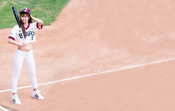 Картинка песок, бейсбол, азиатка, бита