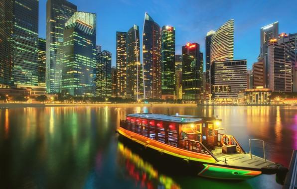 Картинка лодка, здания, дома, залив, Сингапур, ночной город, небоскрёбы, Singapore, Marina Bay