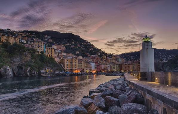 Картинка камни, маяк, здания, дома, бухта, Италия, Italy, Camogli, Лигурия, Liguria, Камольи