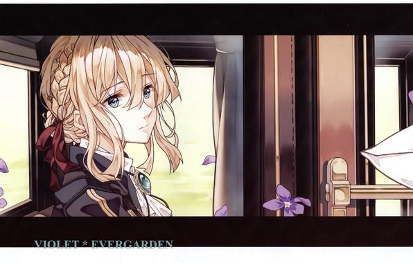 Картинка лицо, дверь, вагон, перчатки, у окна, фиалки, брошь, Violet Evergarden, by Akiko Takase