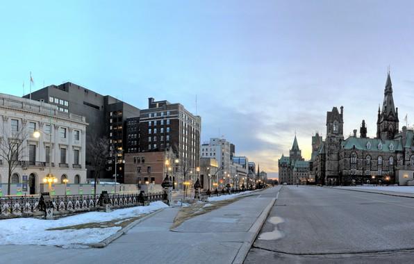 Картинка фото, Дома, Зима, Город, Улица, Дороги, Канада, Ontario, Ottawa, Уличные фонари