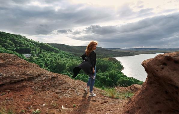 Картинка лес, девушка, озеро, ветер, высота, Natali, Скрипников Александр