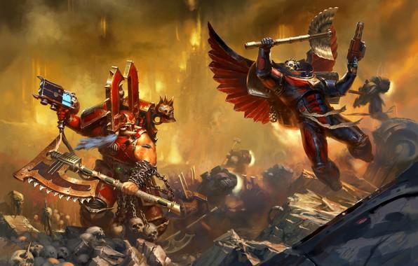 Картинка skull, space marine, battle, berserker, champion, Warhammer 40 000, Khorne, chaos space marine, Kharn the …