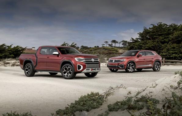 Картинка Volkswagen, пикап, 2018, SUV, Atlas Tanoak Concept, Atlas Cross Sport
