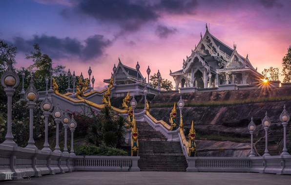 Картинка закат, фонари, лестница, храм, Тайланд, Thailand, Краби, Krabi, Wat Kaew Ko Wararam
