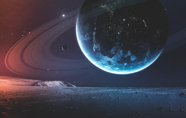 Картинка Звезды, Планета, Космос, Surface, Арт, Stars, Space, Art, Кольца, Спутник, Double, Planet, Поверхность, Rings, Satellite, ...
