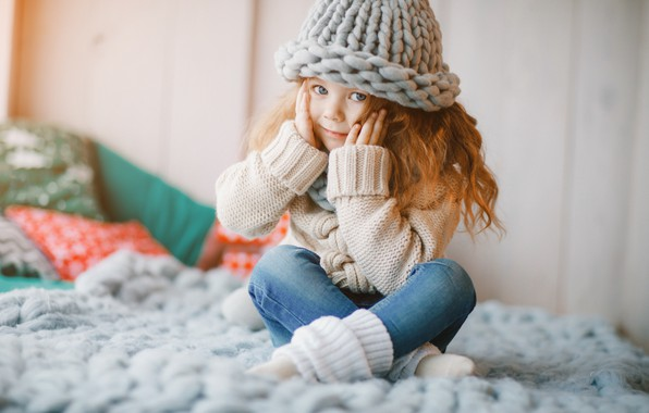 Картинка шапка, джинсы, шарф, девочка, happy, cute, little girl