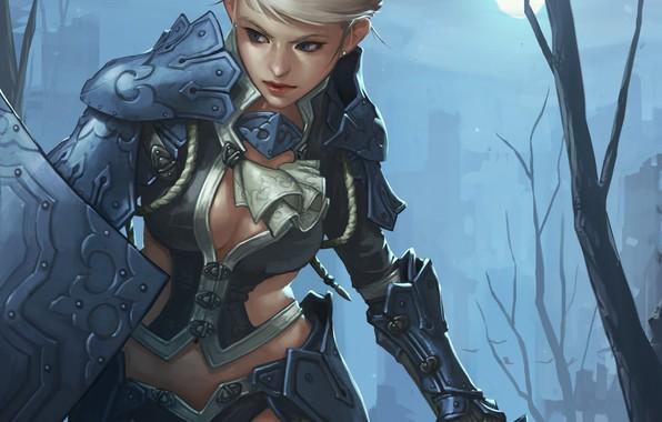 Картинка girl, moon, sword, fantasy, cleavage, armor, weapon, Warrior, night, blue eyes, blonde, artwork, shield, fantasy …