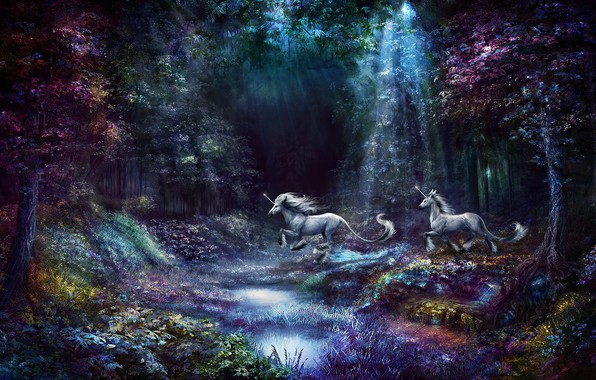Картинка лес, фиолетовый, трава, лучи, свет, деревья, цветы, природа, пруд, ручей, фантазия, сиреневый, прыжок, берег, растительность, …