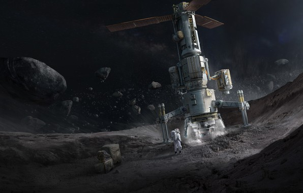 Картинка space, Concept Art, Science Fiction, Asteroid