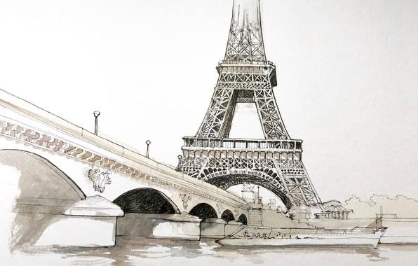 Картинка рисунок, Париж, акварель, Эйфелева башня, городской пейзаж, Йенский мост