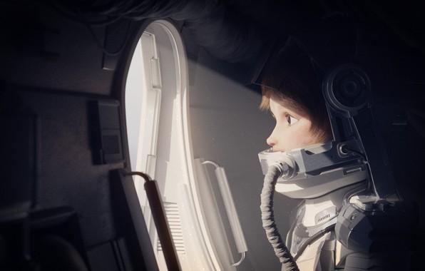 Картинка girl, fantasy, spaceship, artist, digital art, artwork, fantasy art, helmet, astronaut, spacesuit, Rachel Frick