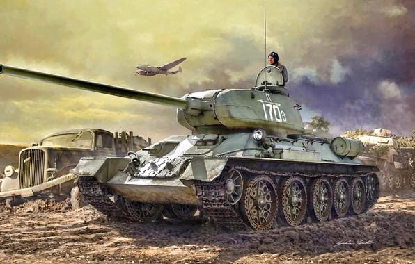 Картинка Грузовик, бомбардировщик, Танк, Пе-2, Т-34-85, Танкист, Opel Blitz