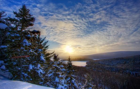 Картинка зима, снег, пейзаж, природа, озеро, рассвет, утро, ели, Канада, леса, Сакакоми