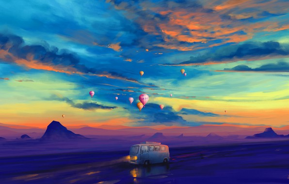 Картинка lights, twilight, road, sky, landscape, sunset, art, mountains, clouds, evening, painting, artist, artwork, balloons, illustration, …