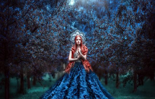 Картинка цветы, Девушка, платье, рыжая, Мария Липина