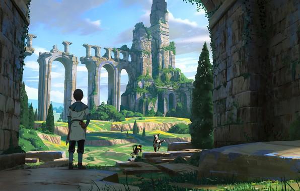 Картинка trees, dog, animal, ruins, castle, artist, digital art, artwork, childs, fantasy art, adventure, arch, Florent …