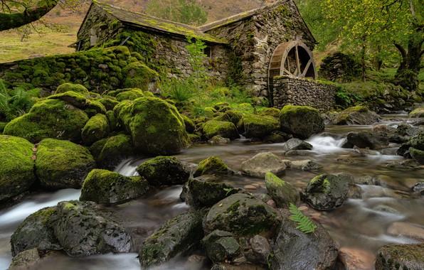Картинка камни, Англия, мох, мельница, речка, England, Cumbria, Камбрия, Borrowdale Valley, Долина Борроудейл