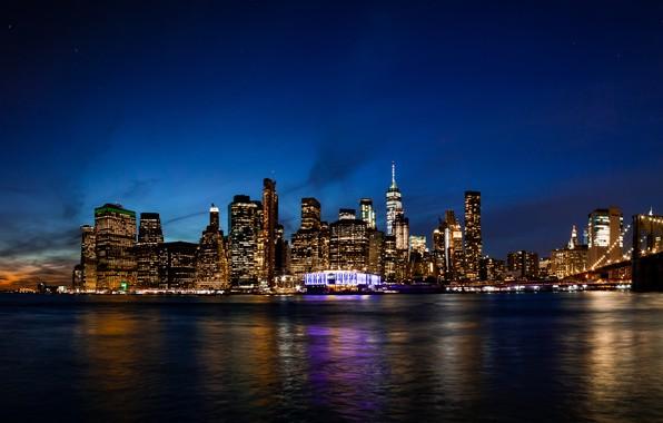 Картинка city, lights, USA, twilight, river, skyline, water, night, New York, Manhattan, NYC, New York City, …