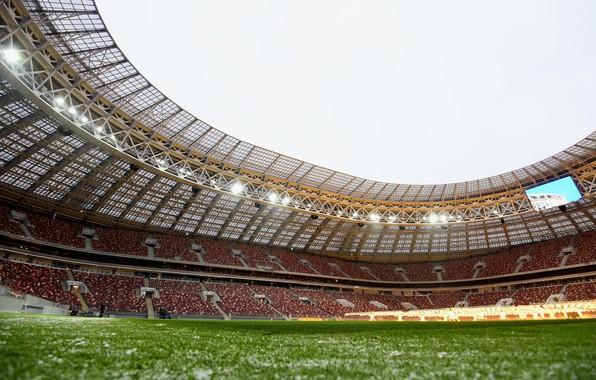 Фото обои Спорт, Футбол, Россия, Стадион, Luzhniki, Stadium, Газон, Трибуны, Трибуна, Лужники, Luzhniki Stadium, Главный Стадион, Стадион ...