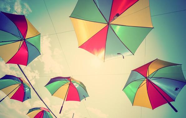 Картинка лето, небо, colors, зонт, colorful, зонтики, rainbow, summer, flying, umbrella
