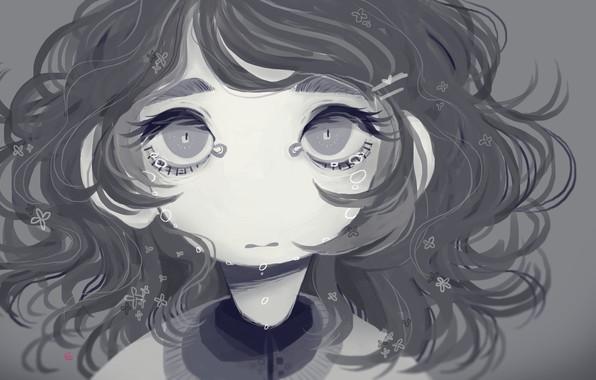 Картинка одиночество, серость, обида, малышка, слёзы, большие глаза, физиономия, by SagaTale, брошенная