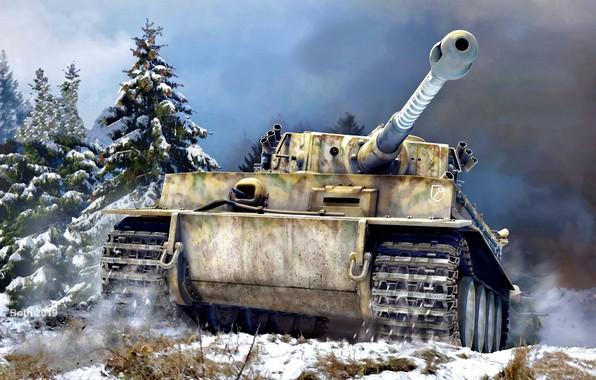 Картинка Снег, Ель, Танк, Tiger I, Тяжелый, С пушкой, 8.8cm KwK 36 L/56