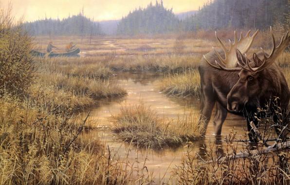 Картинка осень, взгляд, берег, лодка, рисунок, картина, арт, живопись, водоем, охотник, лось, гребцы