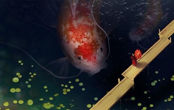 Картинка усы, пруд, Япония, самурай, мостки, вид сверху, красный зонт, гигантская рыба, карпы кои, by Denis …