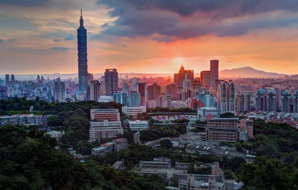 Картинка небо, облака, свет, деревья, закат, горы, город, розовый, холмы, растительность, вид, здания, башня, высота, дома, …