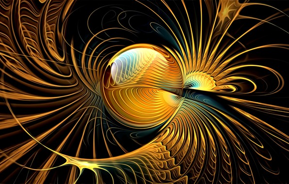 Картинка линии, абстракция, фантастика, обои, фракталы, изгибы, сфера, черный фон, картинка, золотая фантазия