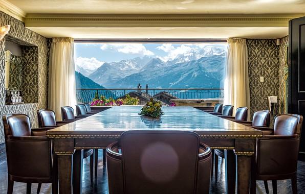 Картинка пейзаж, горы, стол, комната, стулья, интерьер, окно, балкон, шторы, столовая