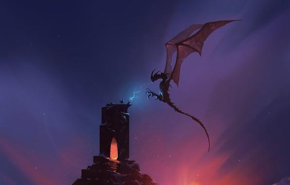 Картинка Башня, Рисунок, Дракон, Монстр, Рассвет, Бой, Ящер, Магия, Битва, Dragon, Арт, Art, Фантастика, Sunrise, ömer …