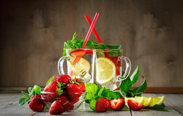 Картинка лед, ягоды, лимон, клубника, напиток, кружки, лимонад