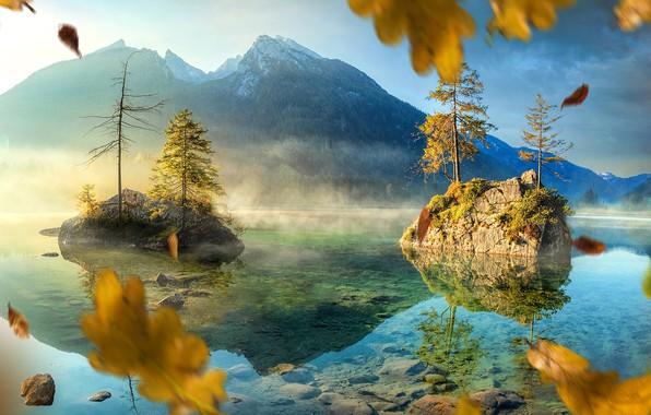Картинка осень, листья, деревья, пейзаж, горы, природа, озеро, скалы, Германия, carsten bachmeyer