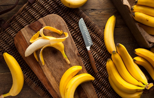 Картинка стол, нож, бананы