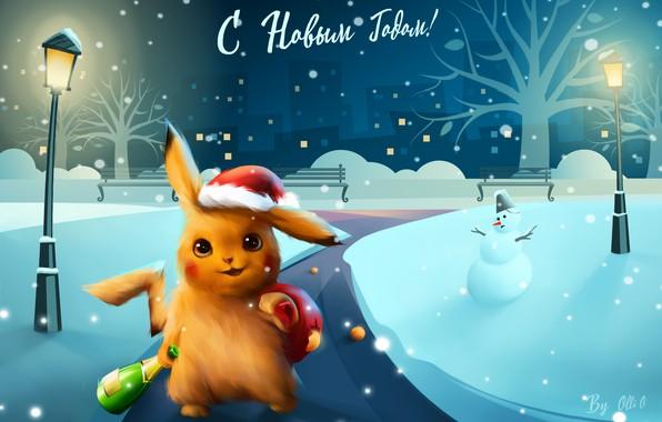 Картинка Зима, Ночь, Снег, Рождество, Снежинки, Фон, Новый год, Праздник, snow, New Year, Illustration, Пикачу, Snowman, ...
