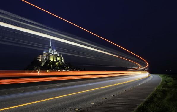 Картинка дорога, ночь, огни, France, Le Mont-Saint-Michel