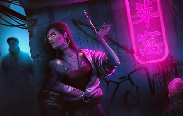 Картинка Девушка, Рисунок, Арт, Art, Assassin, Фантастика, Neon, Illustration, Переулок, Blade, Characters, Science Fiction, Cyberpunk, Клинок, …