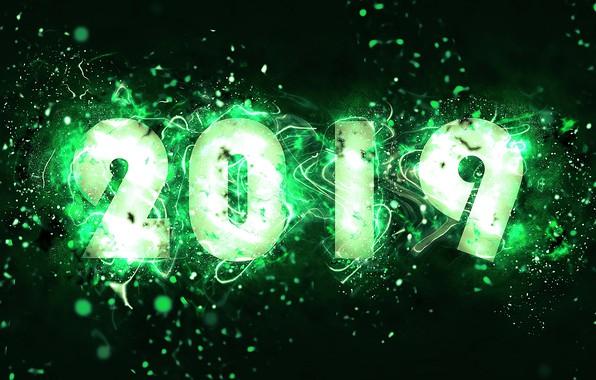 Картинка абстракция, зеленый, Новый год, New Year, 2019