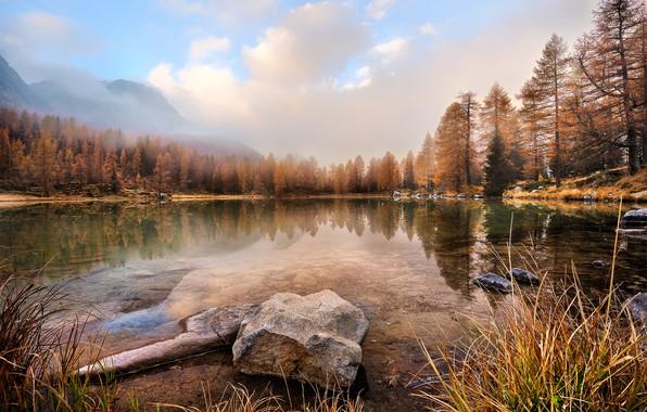 Картинка осень, лес, небо, трава, вода, облака, пейзаж, горы, природа, туман, озеро, пруд, отражение, камни, берег, …