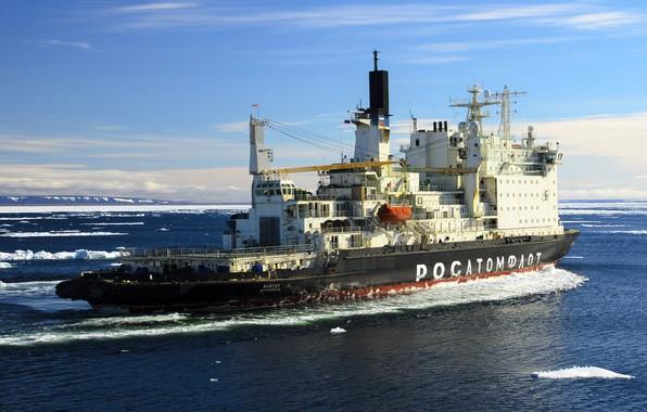 Фото обои Океан, Море, Ледокол, Судно, Россия, Атомфлот, Атомный ледокол, Росатом, «Вайгач», Вайгач, Icebreaker, Vaygach