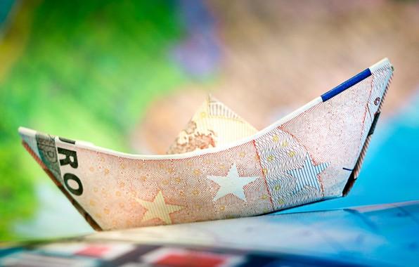 Картинка деньги, евро, кораблик, валюта