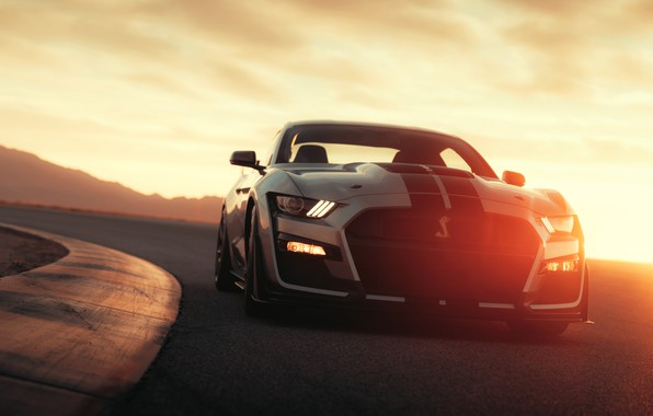 Картинка дорога, машина, асфальт, солнце, свет, полоски, стиль, фары, Ford, поворот, спортивная, спорткар, Ford Mustang Shelby …